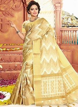 Beige N Cream Art Tussar Silk Saree