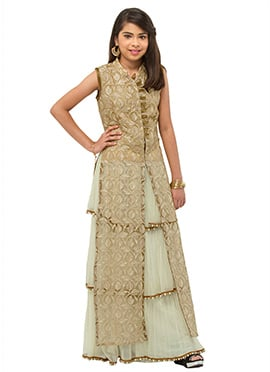 Beige N Cream Embroidered Teenage Lehenga