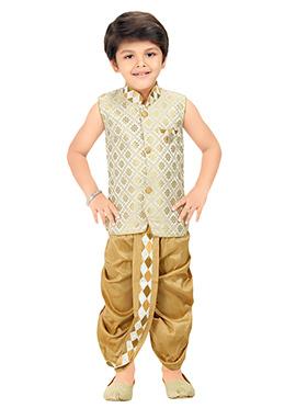 Beige N Cream Kids Dhoti Kurta Set