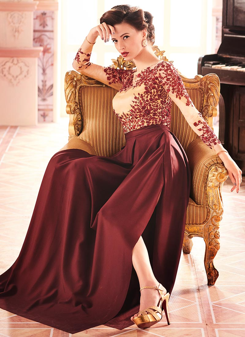 Buy Beige N Dark Maroon Anarkali Gown Embroidered Dresses And Gown