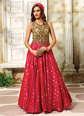 Beige N Dark Pink Floor Length Anarkali Suit