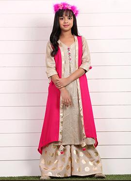 Beige N Fuchsia Pink Jacket Style Teens Palazzo Suit