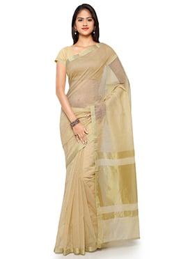 Beige N Gold Blended Cotton Saree