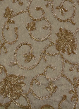 Beige N Gold Net Fabric