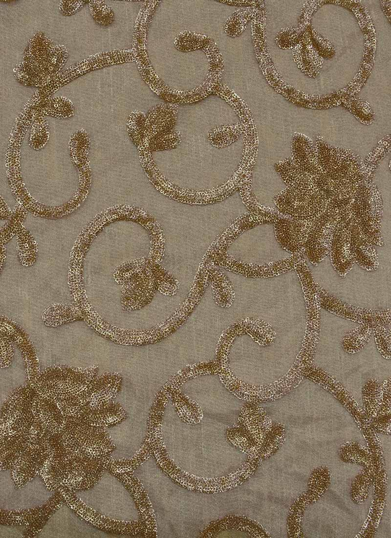 Buy Beige N Gold Net Fabric Embroidered Blended