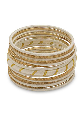 Beige N Gold Thread Bangles