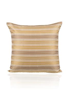 Beige N Golden Art Silk N Poly Silk Cushion Cover