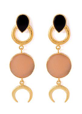 Beige N Golden Dangler Earrings