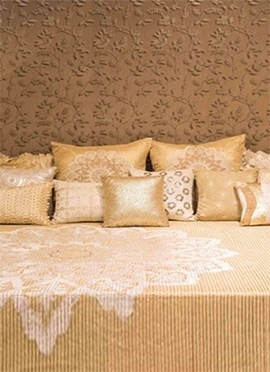 Beige N Golden Poly Silk N Velvet Bed Cover