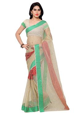 Beige N Green Art Raw Silk Saree