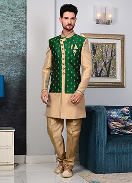 Beige N Green Art Silk Indowestern Sherwani
