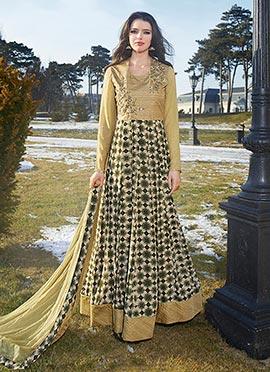 Beige N Green Art Silk N Georgette Anarkali Suit