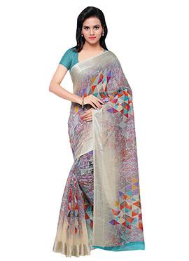 Beige N Green Art Silk Printed Saree