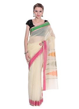 Beige N Green Art Silk Saree