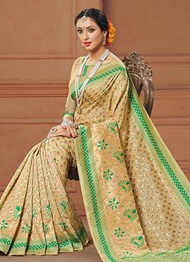 Beige N Green Benarasi Art Silk Saree