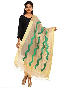 Beige N Green Benarasi Art Tussar Silk Dupatta