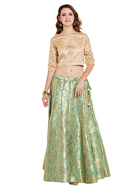 Beige N Green Bhagalpuri Art Dupion Silk Skirt Set