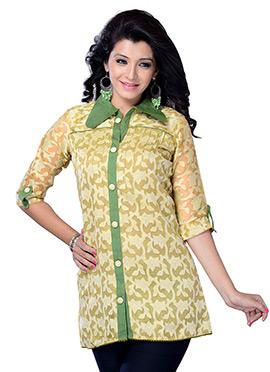 Beige N Green Blended Cotton Short Kurti