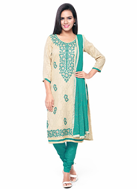 Beige N Green Churidar Suit