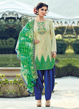 Beige N Green Cotton Patiala Suit