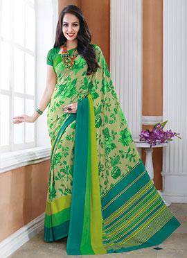 Beige N Green Crepe Silk Printed Saree