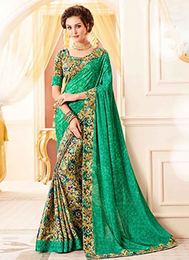 Beige N Green Crepe Silk Saree