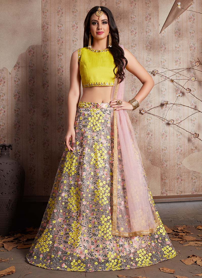f91231dce4c Buy Light Pink N Yellow Embroidered A Line Lehenga
