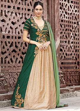 Beige N Green Embroidered Anarkali Suit