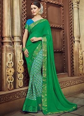 Beige N Green Georgette Printed Half N Half Saree