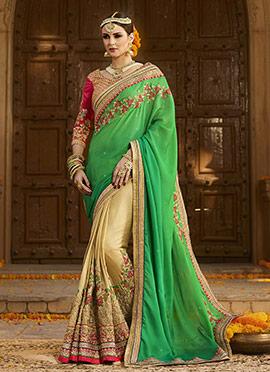 Beige N Green Half N Half Saree