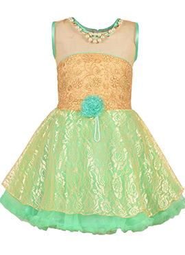 Beige N Green Net Kids Dress