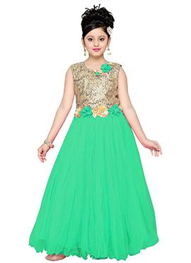 Beige N Green Net Kids Gown