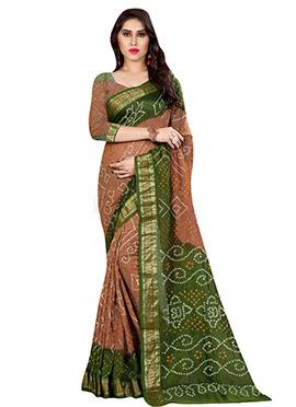 Beige N Green Ombre Bandhini Printed Saree