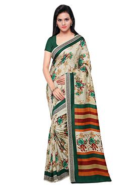 Beige N Green Printed Pashmina Saree