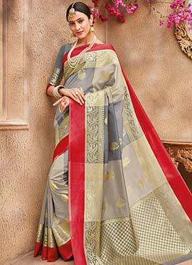 Beige N Grey Art Benarasi Silk Saree