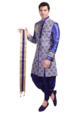 Beige N Indigo Blue Silk Zari Embroidered Stole
