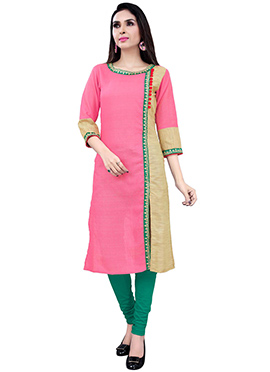Beige N Light Pink Chanderi Silk Kurti