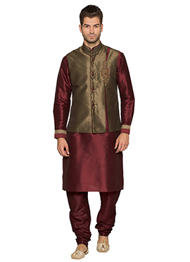 Beige N Maroon Art Silk Bandi Set