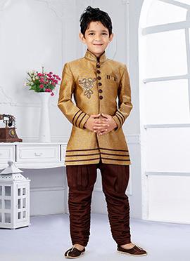 Beige N Maroon Art Silk Breeches Style Kids Sherwani
