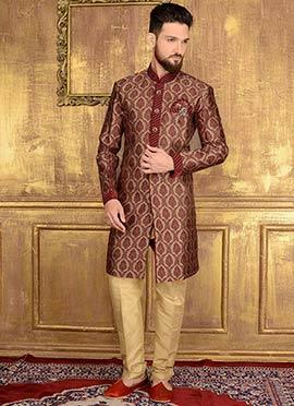 Beige N Maroon Art Silk Indowestern Sherwani