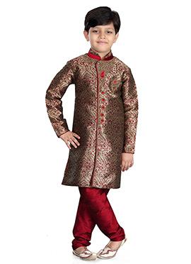 Beige N Maroon Art Silk Kids Kurta Pyjama