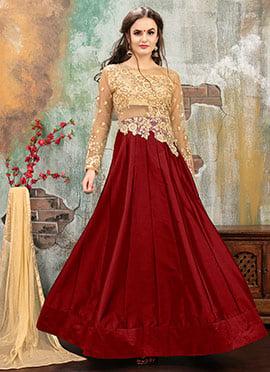 Beige N Maroon Art Taffeta Silk Abaya Style Anarkali Suit