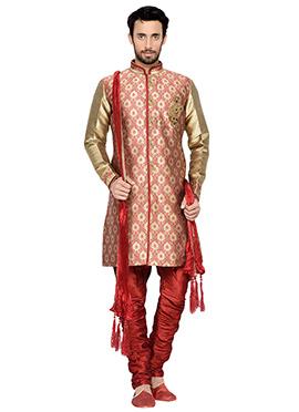 Beige N Maroon Breeches Style Indowestern Sherwani