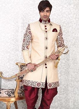Beige N Maroon Brocade Indowestern Sherwani
