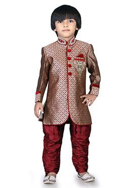 Beige N Maroon Brocade Kids Sherwani
