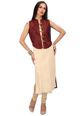 Beige N Maroon Cotton Silk Kurti