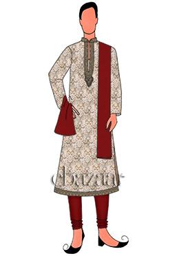 Beige N Maroon Kurta Pyjama Set