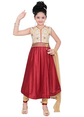 Beige N Maroon Satin Lycra Kids Anarkali Suit