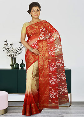 Beige N Maroon Silk Cotton Jamdani Saree