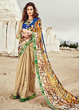Beige N Multicolored Printed Half N Half Saree